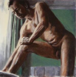 nude study of man drying feet