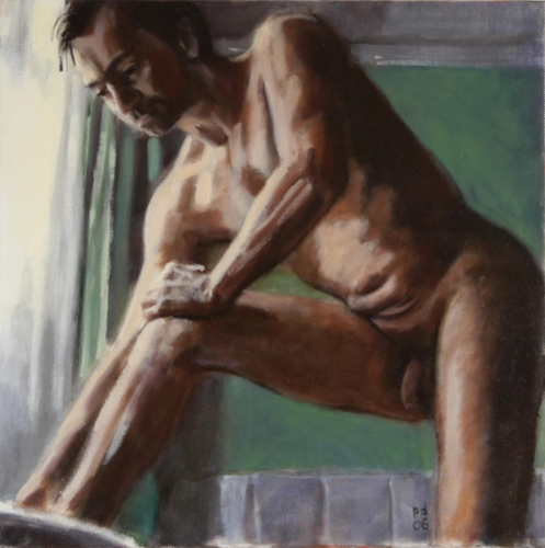 nude study of man drying feet