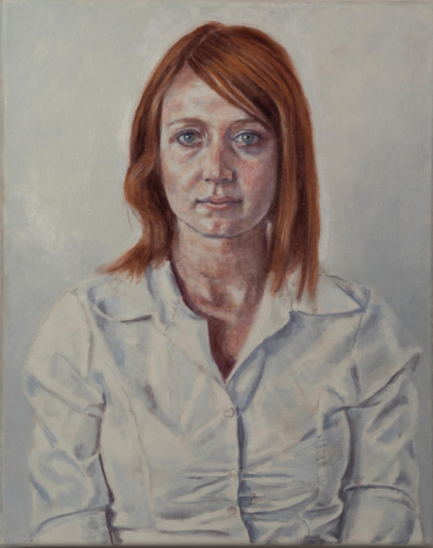 painting of model in white blouse