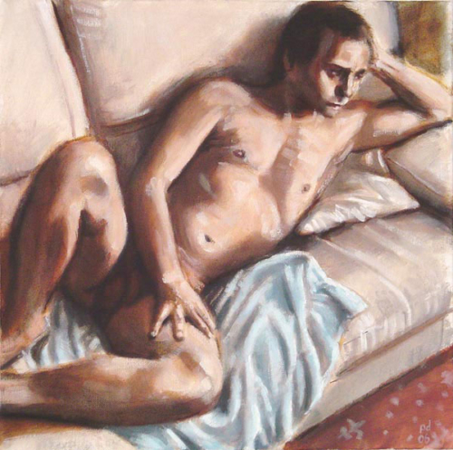 male nude on sofa