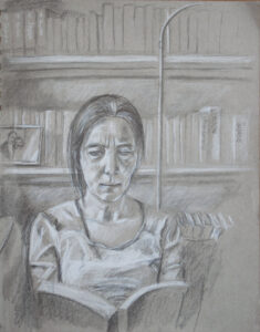 drawing of woman reading
