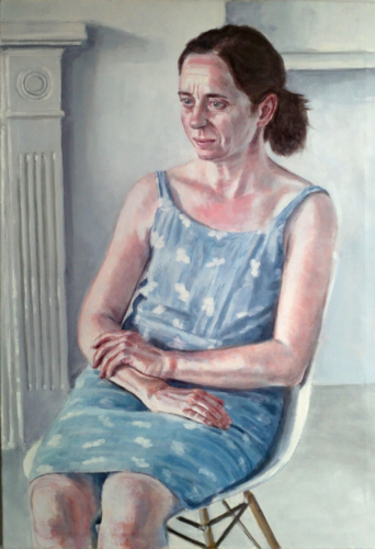 painting of woman in blue dress