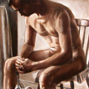 male nude on chair