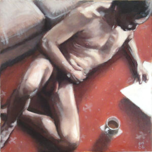 painting of male nude with cup of tea