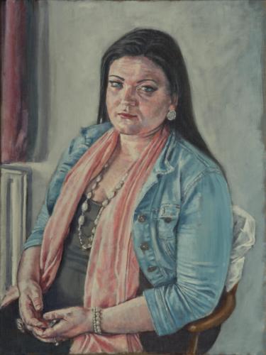portrait painting of woman in denim jacket