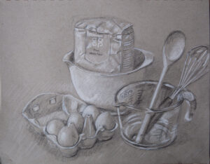 drawing of flour and kitchen utensils