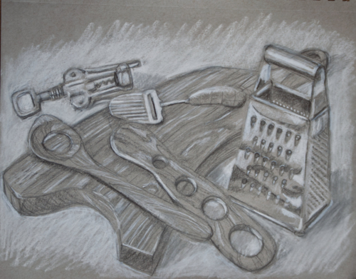 drawing of chopping board and cheese grater