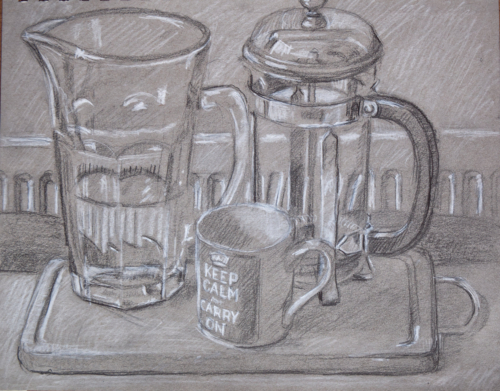 drawing of cup, jug and cafitiere