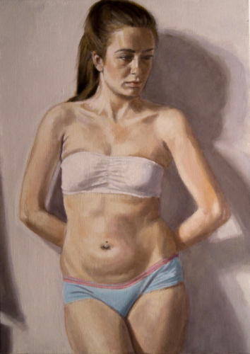 painting of model leaning against wall