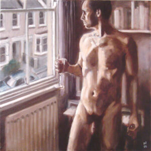 painting of nude man at window, drinking wine