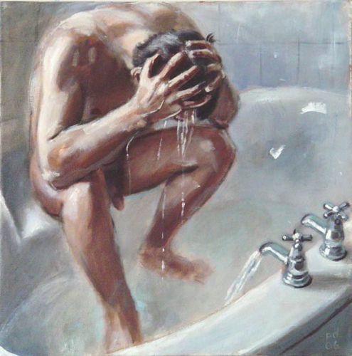 oil study of man washing hair
