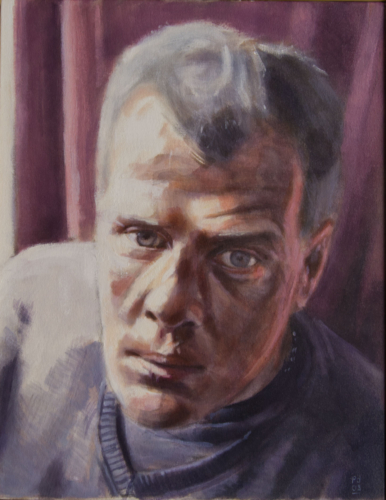 painting of a homeless man