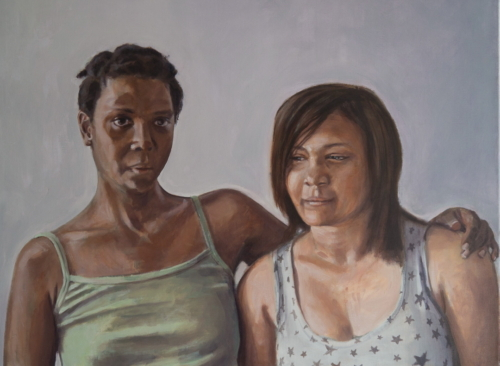 painting of woman and her daughter