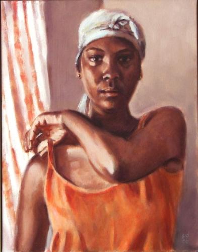 painting of woman in orange top