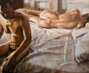 two men on bed