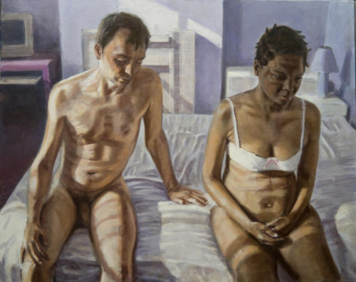 oil painting man and woman on bed
