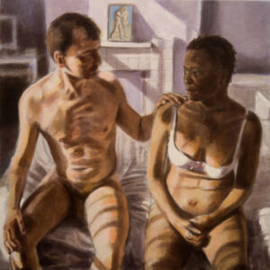 painting man and woman in bedroom