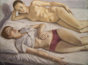 oil painting two women on bed