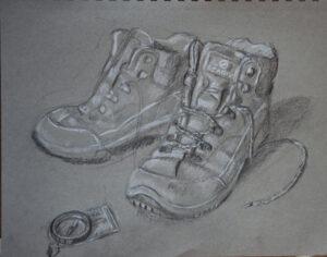 drawing of scarpa walking boots