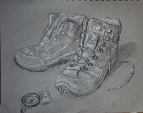drawing of scarpa walking boots