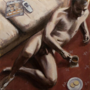 figure study of male nude with tea and biscuits