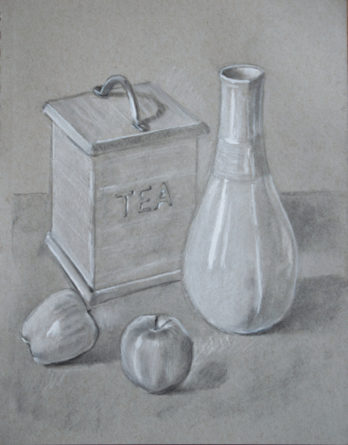 drawing of tea caddy, vase and apples