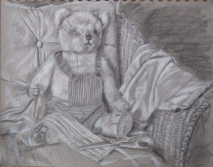 drawing of teddy bear making a facemask