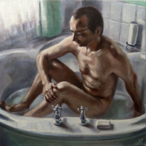 painting of man in bath