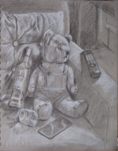drawing of Teddy with vodka bottle, mobile phone and remote control