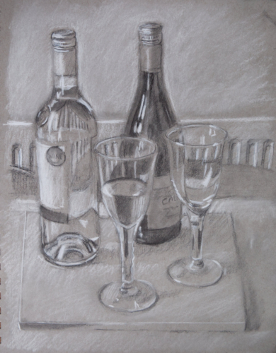 still life draeing of wine bottles and glasses