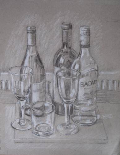still life drawing of wine bottles and glasses