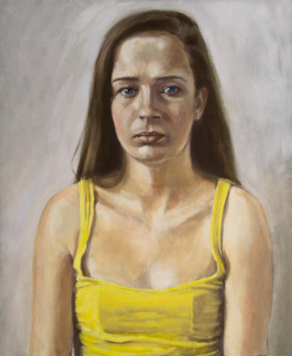 portrait painting of girl in yellow top