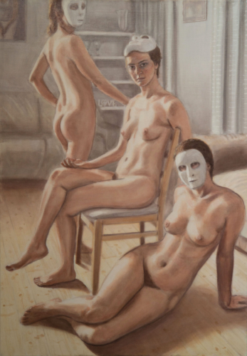 three naked women with masks