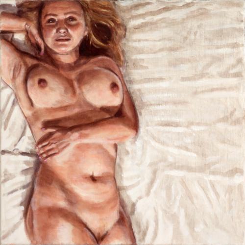 female model lying on floor