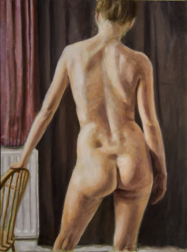 painting of nude woman with chair