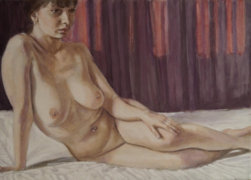 female nude with red curtains