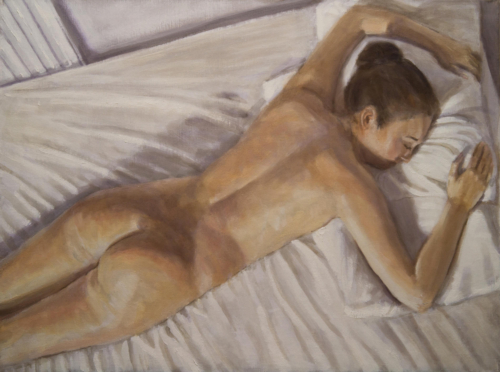 painting of woman asleep on bed
