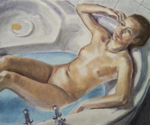 painting of woman in bath