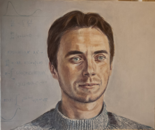 commissioned portrait the theoretical physicist