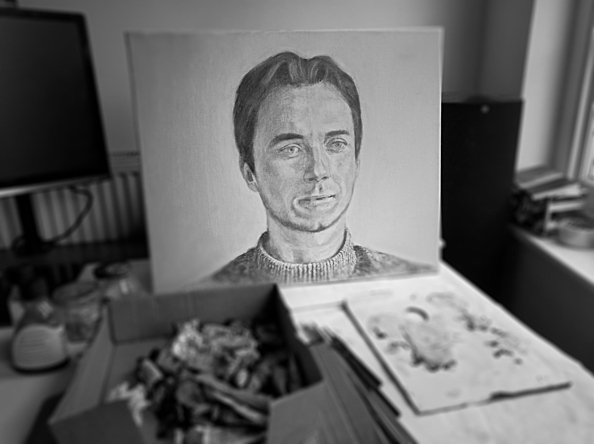 working on a portrait commission in temporary studio