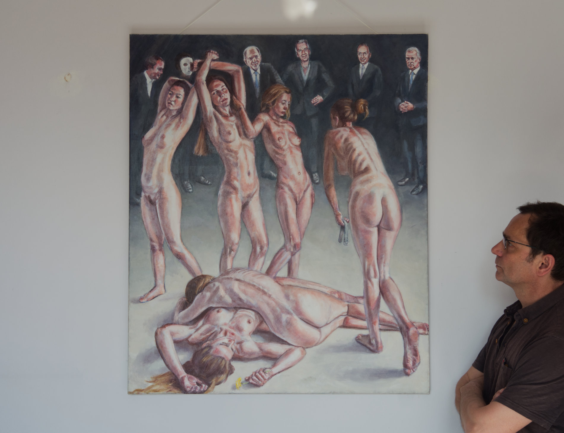 Men in suits. a painting about the male gaze