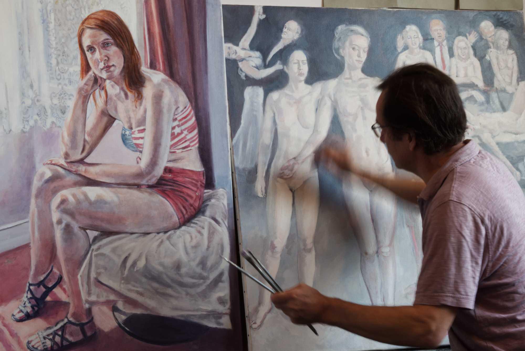 artist working in studio