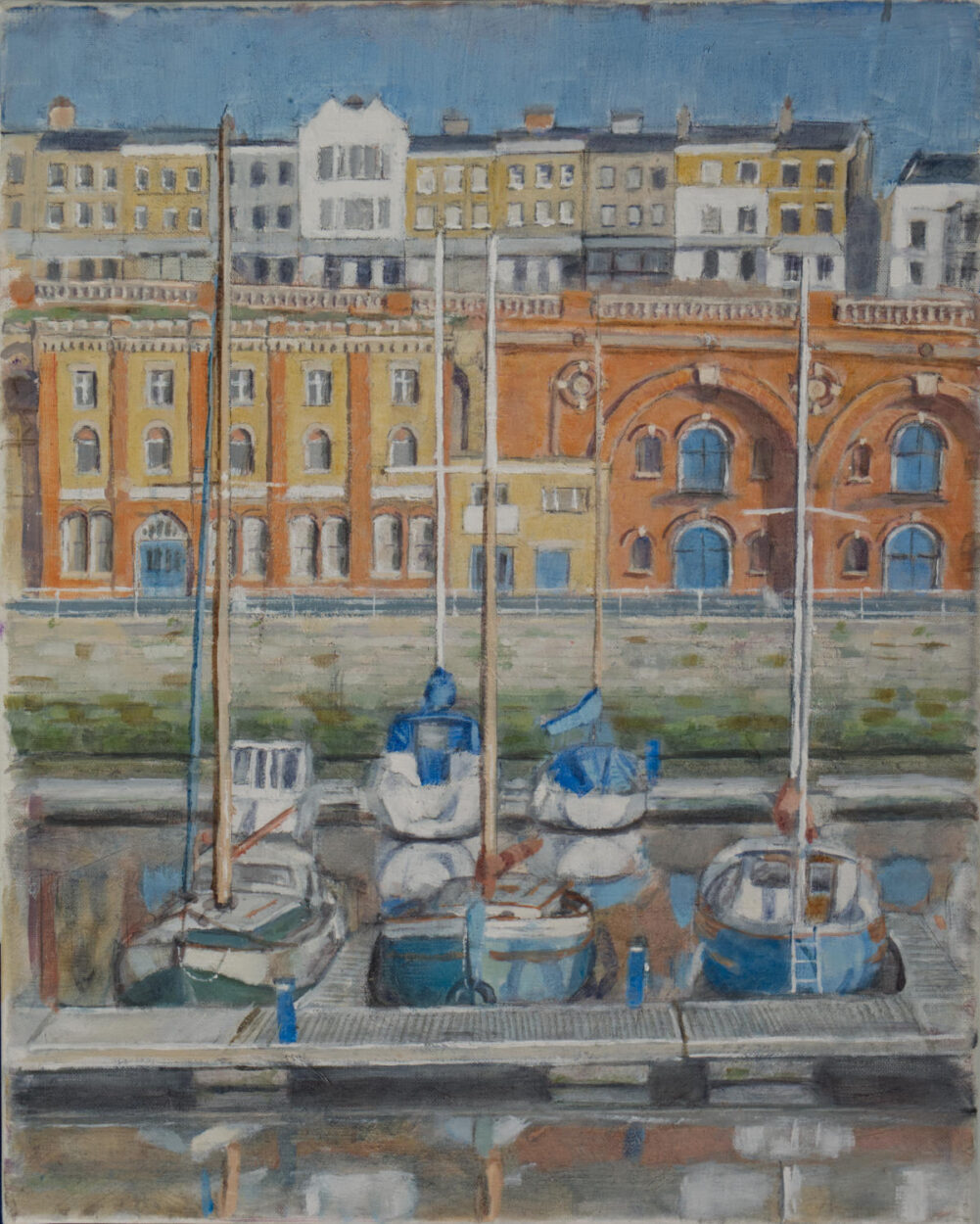 painting of ramsgate marina, with boats moored under historic buildings.