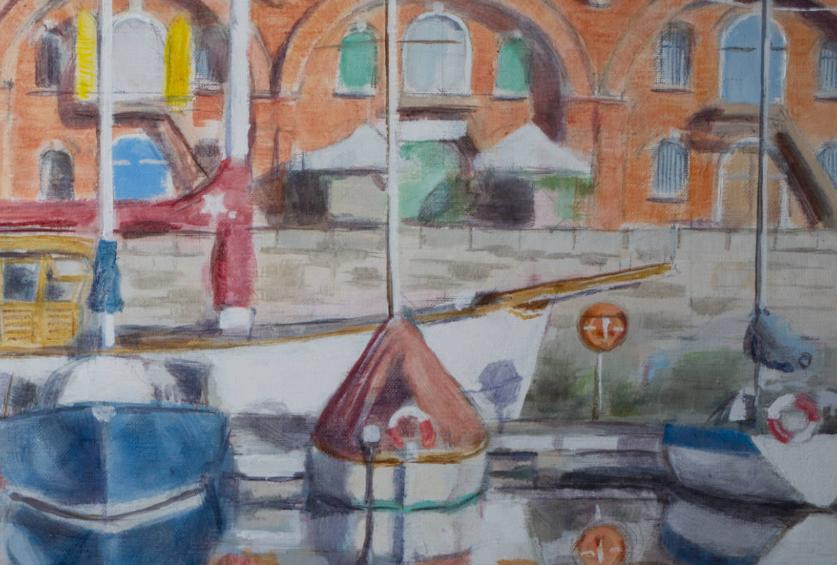 detail from painting of marina scene, ramsgate