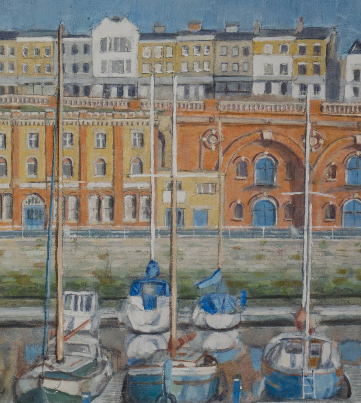 detail from painting of boats moored at Ramsgate Royal Harbour