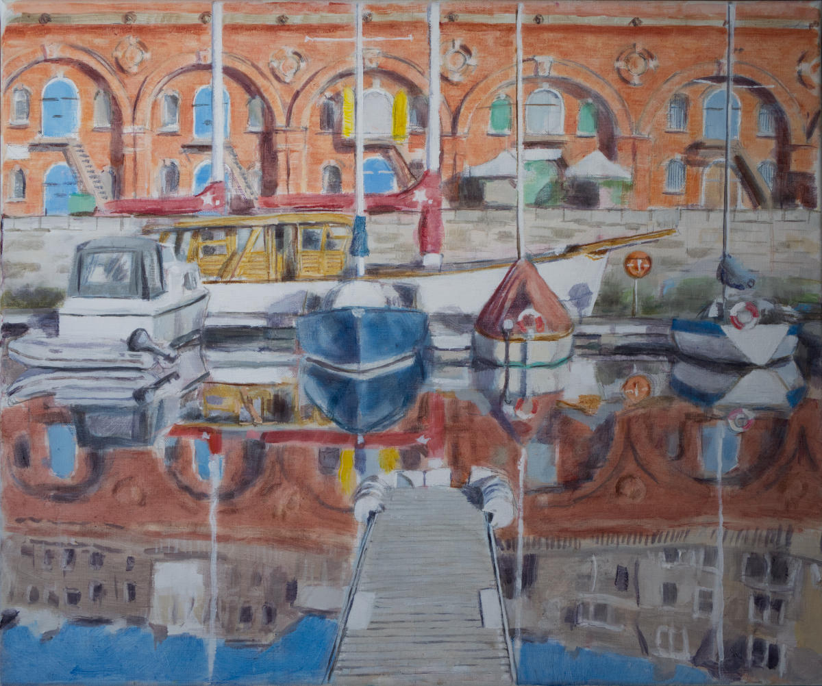 oil painting view of boats moored under red brick arches at Ramsgate Marina
