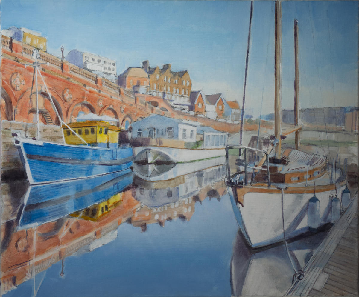 painting of sleek yacht, bright blue fishing boat and a houseboat, moored under red brick arches at Ramsgate Marina