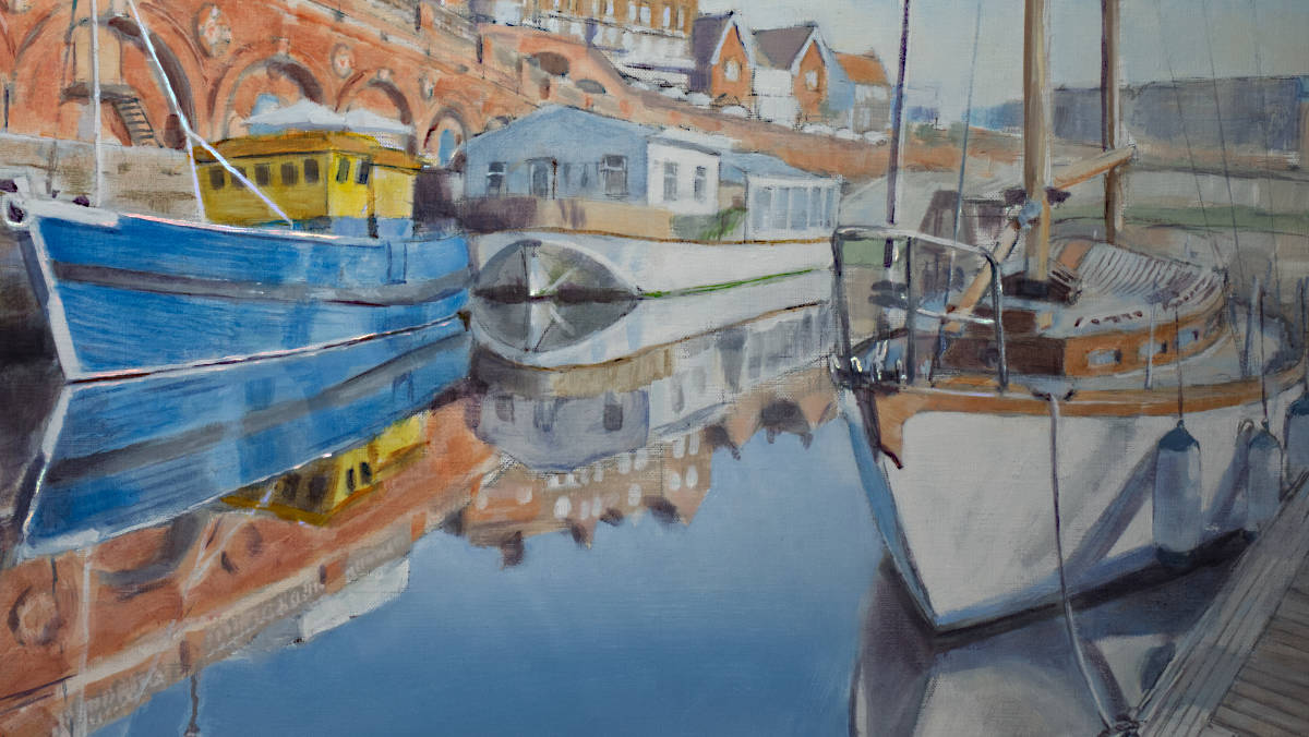 painting of sailing yacht and fishing boat, in Ramsgate marina
