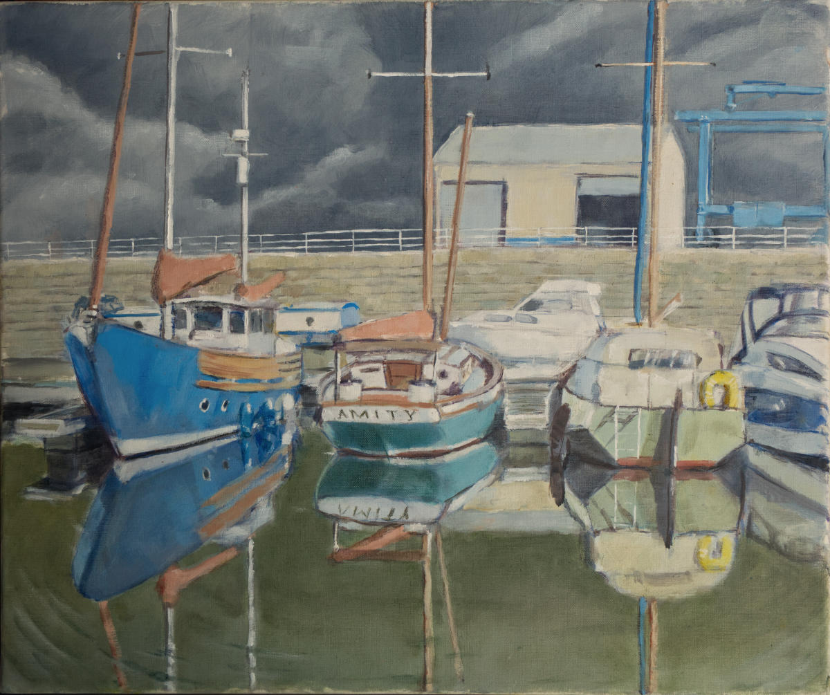 painting of boats in marina, with slate grey skies and still water, just before downpour