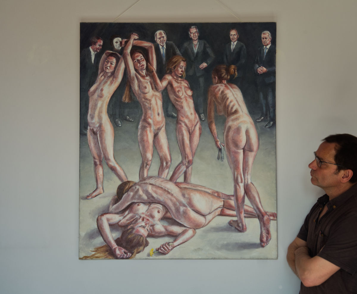 Men in Suits painting, with artist